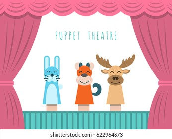 Childrens performance in the puppet theater at the theatre  with price, curtain and scenery.
