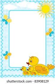 Children's photo framework. Duck. Vector  illustration.