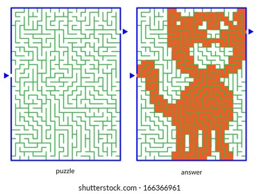 Children's picture logic puzzles, draw a line in this maze from start till end and discovers the hidden image