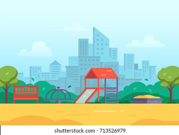 Children's playground in a big city - modern vector illustration with skyscrapers, housing estate on the background. Tot lot with slide, bench, sandbox, merry-go-round