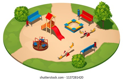 Children's playground on a round clearing among the grass, with three paths, isometric vector illustration