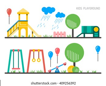 Children's Playground with swings. A place for children play in the yard. Children's Playground drawn in a linear style, vector, outline. Childrens Playground. Kids playground. Playground