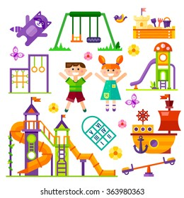 Children's  playground. Teeter board, Swings, sandpit, sandbox, bench, tree-house, children  slide, happy boy and girl, toy ship. Baby-themed flat stock illustration with isolated elements.