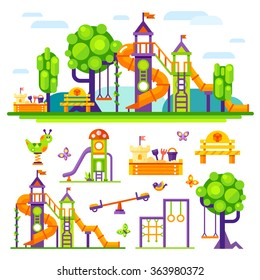 Children's  playground. Teeter board, Swings, sandpit, sandbox, bench, tree house, children  slide. Baby-themed flat stock illustration with isolated elements.
