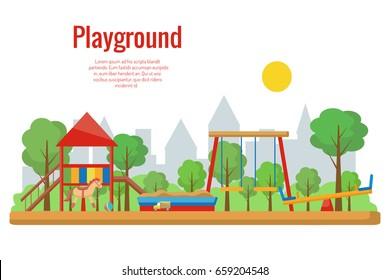 Children's playground vector illustration.