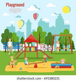Children's playground vector illustration. Children's activity,