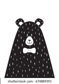 A children's poster with a picture of Papa bear in the Scandinavian style. Vector illustration in flat design