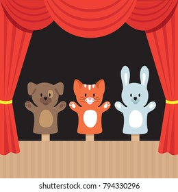 Childrens puppet theater scene with cute animals and red curtain. Cartoon vector illustration. Puppet toy in theater, marionette performance show