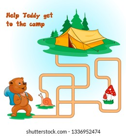 Children's puzzle. Labyrinth. Help the bear to reach the tourist camp. Vector