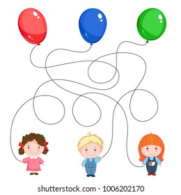 Children's riddle picture. Three children with balloons, green, blue and red, the threads are mixed. Find where his ball is.