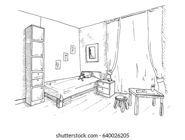 Children's room. In the corner of the room is a bed, next to a closet, table, chair. Vector illustration in a sketch style