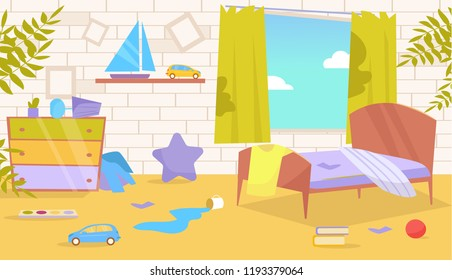 Children's room. Dirty, messy Vector. Cartoon. Isolated art on white background. Flat