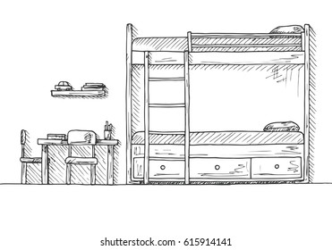 Children's room. Children's furniture. Bunk bed, table and two chairs. Hand drawn vector illustration of a sketch style.