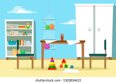 Children's room with furniture and toys, with a table and chairs, scattered sheets for drawing. Vector illustration in cartoon flat style.
