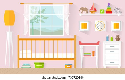 Children's room for a girl. Vector illustration in a flat style. The concept of the interior of the nursery.