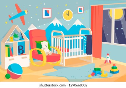 Children's room interior, with a cot, chair for mother. Kid boy room interior vector illustration of modern bedroom furniture in blue Scandinavian style, mountains and a plane on the wall, soft toys.
