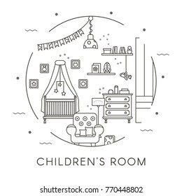 Children's Room Interior Design in Thin Line Style. Collection includes armchair, bed, decor, crib and chest of drawers. Flat vector illustratio