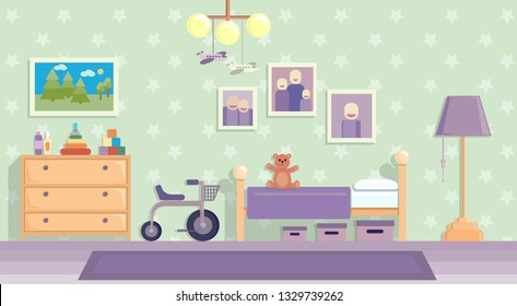 Childrens room in lilac . Vector image in flat design style.