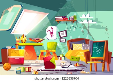 Childrens room on attic interior with terrible mess, stained floor, scattered toys, drawings on walls and furniture cartoon vector illustration. Messy boy bedroom, hyperactive or lazy kid concept