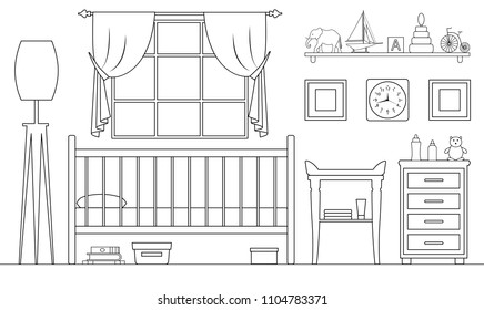 Children's room in the outline style. Vector illustration. Plan of furniture arrangement. Side view. Linear interior.