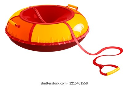 Children's round inflatable sledges (tubing) for winter driving from a hill, red-yellow. Vector illustration on white background.