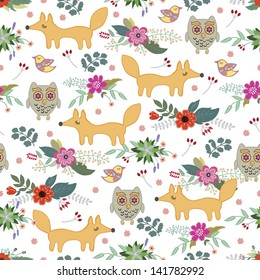 children's seamless with animals and flowers