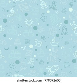 Children's seamless monochromatic festive pattern for packaging, textile, backdrop, print, wallpaper, and cover. The picture shows the icons of children's toys