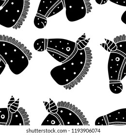 Children's seamless pattern with black horses.
