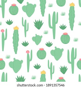 Children's seamless pattern with cactus on white background in cartoon style. Cute texture for kids room design, Wallpaper, textiles, wrapping paper, apparel. Vector illustration