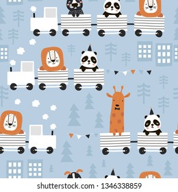 Children`s seamless pattern with cute animals riding the train in the Scandinavian style. Creative vector childish background for fabric, textile