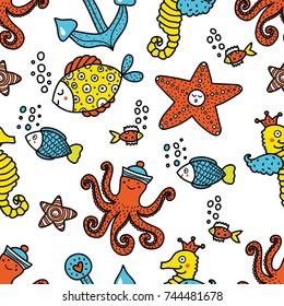 Children's seamless pattern with marine motifs
