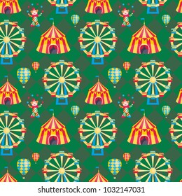 Children's seamless pattern with a picture of a circus tent. Colorful vector background.