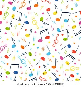 Children's seamless vector pattern with funny notes characters. Cute funny smiling multicolored notes and musical signs hand drawn in cartoon style on white background