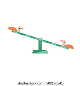 children's seesaw with duck seats flat design isolated color vector element