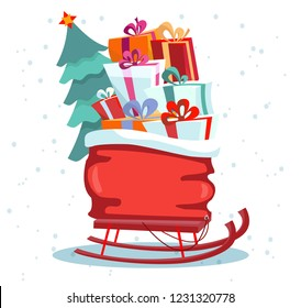 Children's sledges with a bag of gifts and a Christmas tree on a white background. Multicolored gift boxes are beautifully decorated with ribbons and bows.