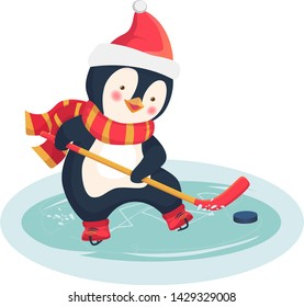 Childrens sports concept. Christmas penguin play ice hockey in the winter. Kids hockey. Vector illustration