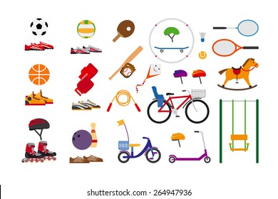 Childrens sports equipment for fun and leisure. Ball and kite flying, skate and bowling, jump rope and badminton, scooter and swing, rollers and bike, ping pong and volleyball