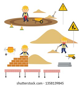 A children's style illustration showing the construction site and works performed on it.