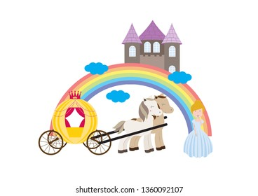 A children's style illustration showing the enchanted fairy tale world, princess, castle and carriage.