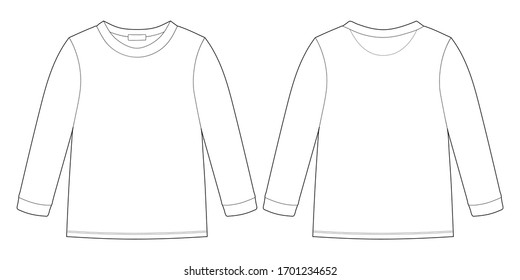 Childrens technical sketch sweatshirt. KIds wear jumper design template isolated on white background. Front and back view. Outline vector illustration