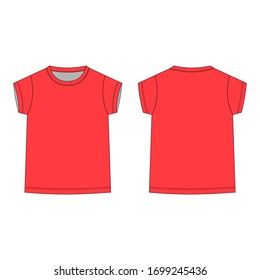 Childrens technical sketch tee shirt in red color. T-shirt blank template vector illustration isolated on white background. Front and back. Casual style.