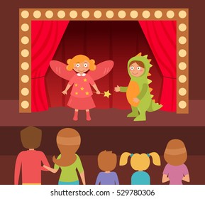 Children's theatrical performance. Dinosaur and fairy. Theatre stage. Vector. Cartoon. Isolated. Flat