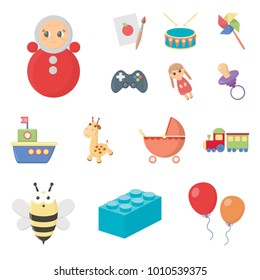 Children's toy cartoon icons in set collection for design. Game and bauble vector symbol stock web illustration.