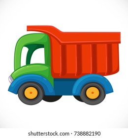 Children's toy color plastic dump truck isolated on a white background