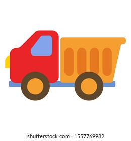 Children's toy truck car for boys with a trailer. Vector illustration in cartoon flat style.
