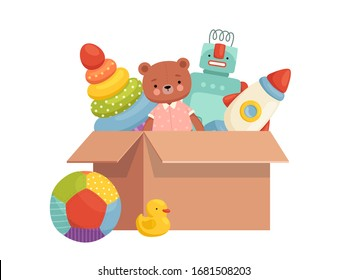 Children's toys in a box. Collected inventory for games and entertainment. Order in children's things
