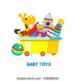 Children's toys in a box. Vector illustration, isolated on white background. In box giraffe, pyramid, rocket, truck, dice, ball, top.
