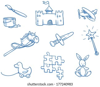 Children's toys icons, puzzle, castle, duckling, horse, hand drawn sketch vector illustration
