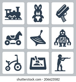 Children's toys vector icons set: train, hare, water gun, horse, humming-top, robot, tricycle, sandbox, plastic toy soldier