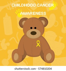 children's toys and the words - awareness of childhood cancer